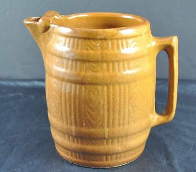 Vintage Large Creamer Or Small Pitcher Ceramic Art Pottery Barrel Shaped P4