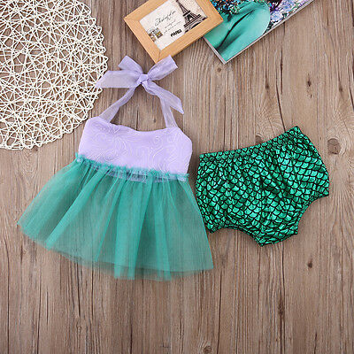 Infant Toddler Baby Girls Tulle Tops+Bottoms Briefs Mermaid 2pcs Outfits Set