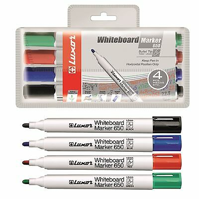 Whiteboard Markers Dry Wipe Assorted Colour - LUXOR Round Bullet Tip - Free P&P