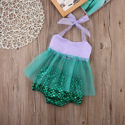 Cute Toddler Kids Baby Girls Tulle Tops+Bottoms Briefs Mermaid 2pcs Outfits Set
