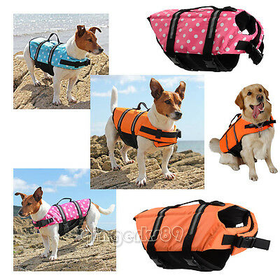 S-L Pet Dog Cat Saver Life Jacket Reflective Float Vest Buoyancy Aid Swimming UK