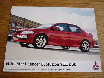 Mitsubishi Lancer Evo Viii 260 Original Press Photo 2004, 'brochure' Connected
