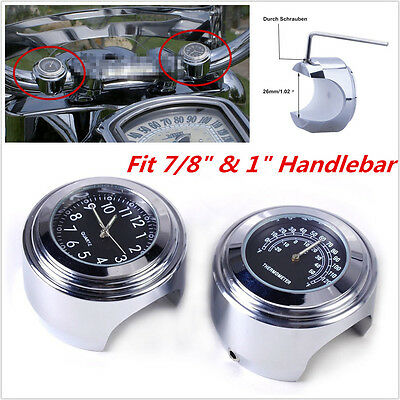 """Motorcycle 7/8"""" to 1"""" Handlebar Mount Thermometer Temp Gauge & Clock Dial Watch"""