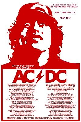 AC/DC 1977 box office CONCERT POSTER North America 1st tour