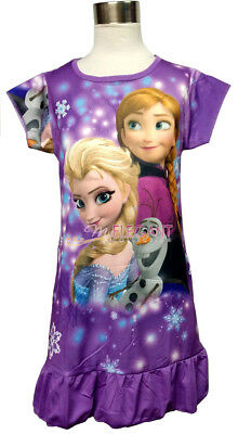 Disney Frozen Elsa Anna Olaf Children Dress Girls Pajama Nightwear 3-10 Purple