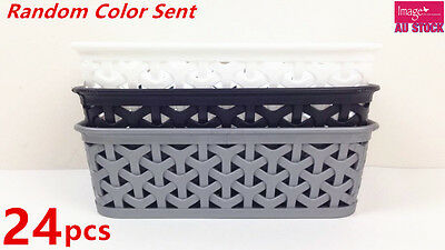 24 x Rectangle Plastic Storage Basket Wicker Pattern with Carry Holes BK0168