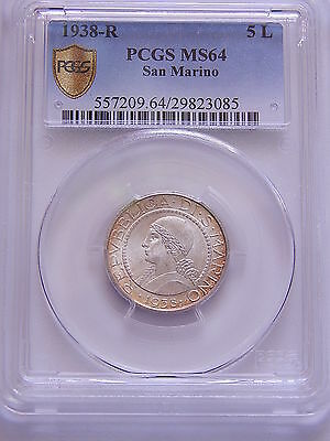 1938-R ITALY SAN MARINO 5 Lire Silver Coin PCGS MS64 Free Shipping
