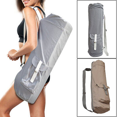 Portable Yoga Pilates Mat Shoulder Bag Carrier Case Adjustable Strap /w Pocket