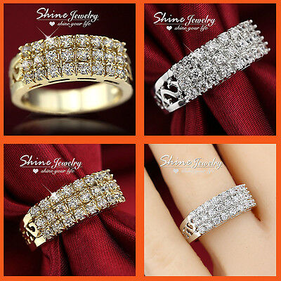 9K Yellow White Gold Filled Engagement Wedding Three Row Band Diamond Solid Ring