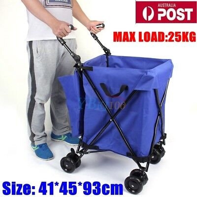 Foldable Grocery Shopping Cart Trolley Large Bag Folding Luggage Wheels Basket