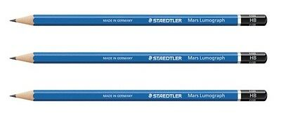 3 x Staedtler Mars Lumograph Pencil 16 Grades Available 8B to 6H