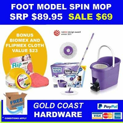 White Magic Spin Mop - Foot System - NEW & IMPROVED - GENUINE & CHEAPEST