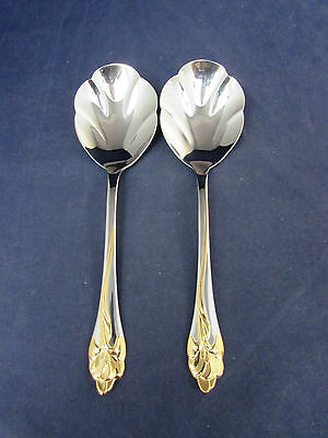 SET OF TWO - Oneida Stainless GOLDEN AMARYLLIS Casserole Spoons USA
