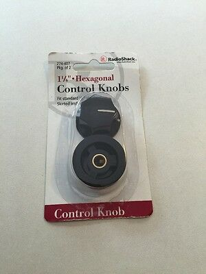 "1-1/4"" Inch Hexagonal Control Knobs 2/PK by RadioShack #274-407 New!!!"