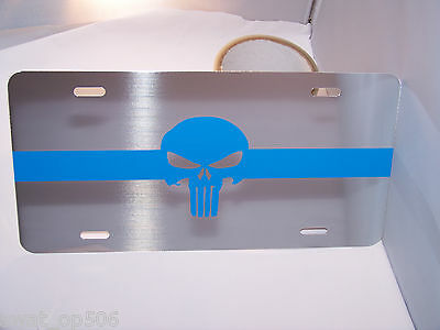 "Thin Blue Line ""PUNISHER"" Chrome Heavy Gauge Metal License Plate-LOOKS GREAT!!"