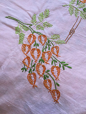 Vintage Embroidered Pink Tablecloth - Finished Flowers Needlepoint Picture Art