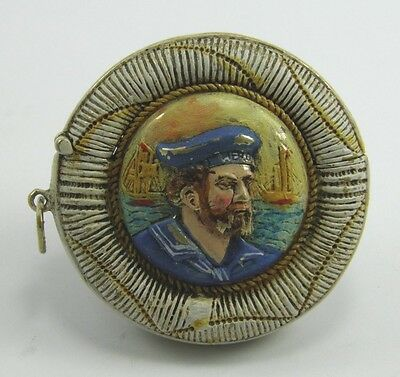 Early 20th century Players Navy Cut hand painted brass vesta case match safe
