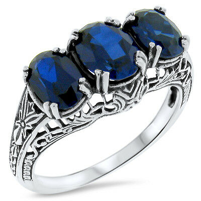 Blue Lab Sapphire Antique Deco Style .925 Silver Filigree Ring Size 10, #387