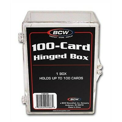 Trading Card Storage Box Acrylic, Hinged Lid - Holds 100 Cards x 4 Pack