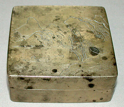 Original Antique 19th C. Chinese Scholar's White Copper Ink Box