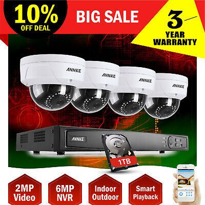 ANNKE 1080P POE 8CH 6MP Network NVR Smart Search IP66 1TB Security Camera System