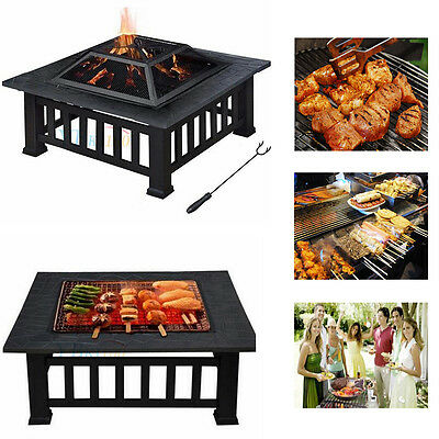 Garden Fire Pit Outdoor Metal Tile Firepit Square Stove Table Heater Brazier BBQ
