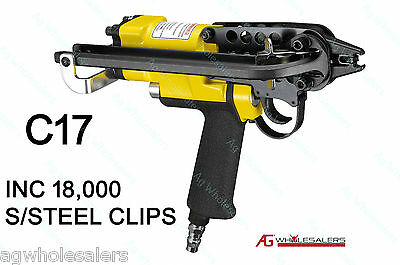 PNEUMATIC 17mm C17 HOG RING GUN C/W STAINLESS STEEL CLIPS- FENCE RINGER PLIERS C