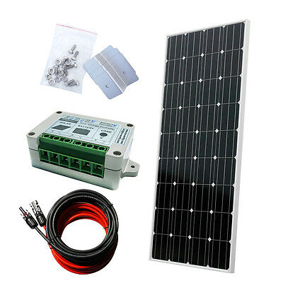 160W COMPLETE KIT:160 W Photovoltaic PV 150W Panel 12V RV Boat for Off Grid