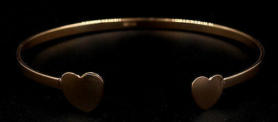 .925 Sterling Silver 10mm Hearts Length 7.5in 3mm Bangle in Rose Gold Plated