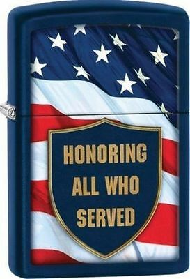 Zippo Windproof Lighter Honoring All Who Served and Flag, 29092, New In Box
