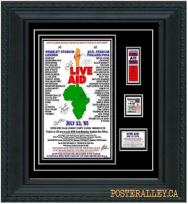 LIVE AID Concert Poster & Ticket set Ready to frame!  VERY NICE!!!  uk  usa