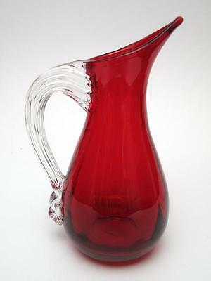 Vintage Whitefriars England Ruby Red Art Glass Beak Jug #9419