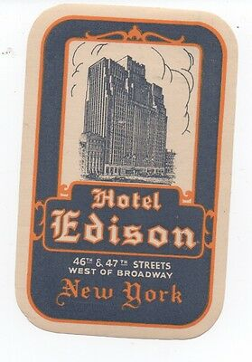 1930s Luggage Label from the Hotel Edison in New York