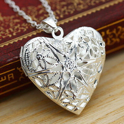 Chic Silver Hollow Heart Picture Locket Photo Case Pendant Necklace Love Gift