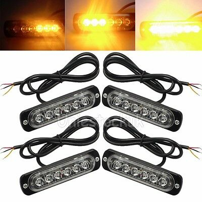 4PCS 12/24v 6 LED AMBER RECOVERY STROBE FLASHING LIGHT CREE BREAKDOWN LAMP GRILL