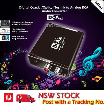 Digital Optical Coaxial Toslink SPDIF to Analog RCA L/R Audio Converter Adapter