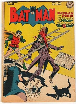 DC Comics BATMAN Golden age #40 1947 JOKER COVER AND STORY G+