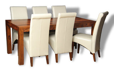 Dining Room Furniture Cube Dining Table & 6 Cream Leather Chairs (C19&6A4Dr)