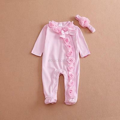 Newborn Baby Girl Clothes Bodysuit Romper Jumpsuit Playsuit+Headband Outfits Set