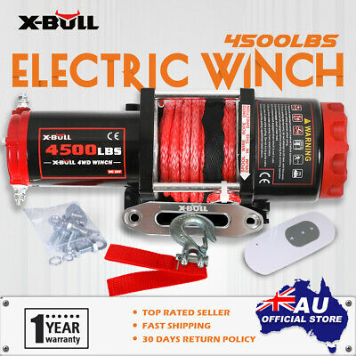 XBULL Electric Winch 12V 4500LBS/2041kg Wireless Synthetic Rope 2 Remote ATV 4WD
