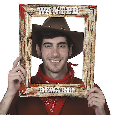 "17"" WILD WEST WANTED POSTER PHOTO FRAME Photo Prop Western Cowboy Party 49630"