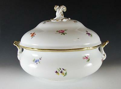"""Large 14"""" Meissen """"scattered Flowers"""" Oval Tureen"""