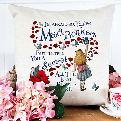 Alice In Wonderland Mad Hatter Bonkers Cushion Cover With Insert Vintage Aw01