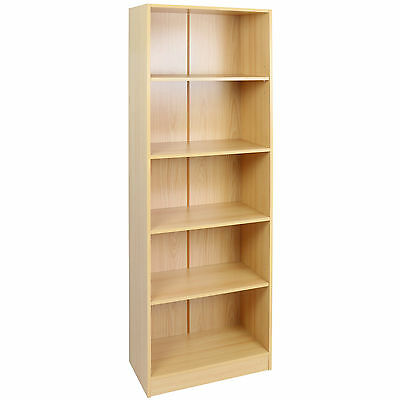 Hartleys 5 Tier Beech Wooden Freestanding Bookcase/bookshelf Storage Unit Shelf