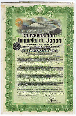 JAPAN IMPERIAL GOVERNMENT 1910 ENGRAVED BOND with 59 COUPONS M. M. de ROTHSCHILD