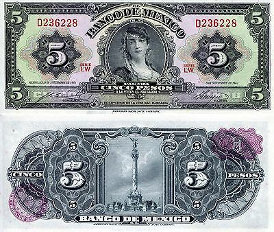 MEXICO 5 Pesos Banknote World Paper Money UNC Currency BILL Note p60g