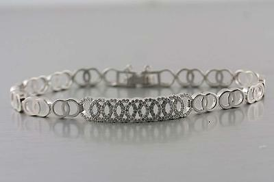 Bracelet Safety Chain Sterling Silver .925 pave set round Cubic Zirconia