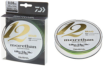 Daiwa Morethan 12 Braid 0,14mm 12,2kg 300m Lime Green Geflochtene Schnur