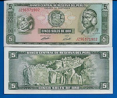 Peru P-99c 5 Soles De Oro Year 1974 About/Uncirculated Banknote