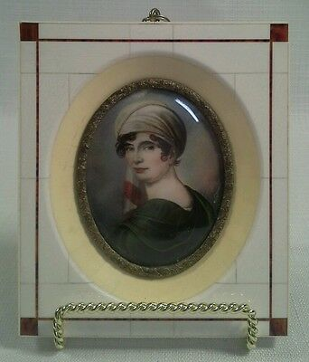 Antique 18Th / 19Th Century Continental Miniature Painting Of A Woman